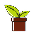 cartoon flower in pot icon on white background vector image