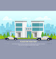 city police station on urban background - modern vector image