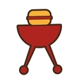 grill with hamburger drawing icon vector image