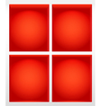 Illuminated empty red book shelves vector image
