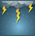 rain with thunderbolt paper art style vector image