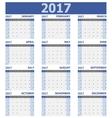 2017 calendar week starts on Sunday 12 months set vector image vector image