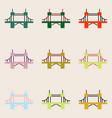 collection of metal cable suspension bridges vector image