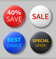glossy 3d sale circle buttons or badges with vector image