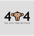 404 page not found with monkey face screaming vector image