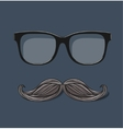 hipster glasses and drawn mustache on gray vector image