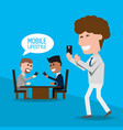 businessmen with smartphone in the hand vector image