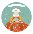 Cute cat with cupcakes wearing dress vector image