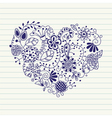 floral heart heart made of flowers doodle heart vector image