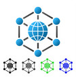 global web nodes flat gradient icon vector image