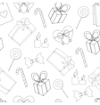 Seamless Happy birthday elements line pattern vector image