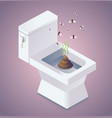 shit in the toilet and flies vector image