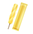 Yellow Banana Fruit Ice on Stick with Foil vector image