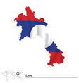 Map of Laos with flag vector image