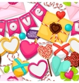 Seamless pattern with hearts objects decorations vector image