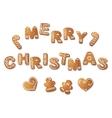 Gingerbread inscription Merry Christmas vector image