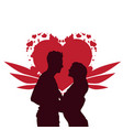 valentine day background silhouette couple vector image
