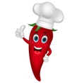 Chef chili cartoon with thumb up vector image