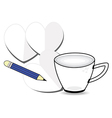 coffee cup with paper and pencil vector image