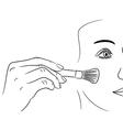 girl gets rouge brush on white background vector image
