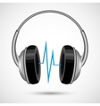 Headphones and soundwave poster vector image