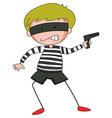 Robber with mask firing gun vector image
