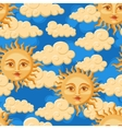 Seamless sun with face vector image