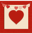 Love heart and bunting background on red vector image