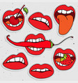 lips sticker collection sexy lips with strawberry vector image