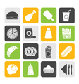 Silhouette fast food and drink icons vector image