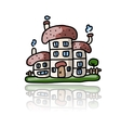 House icon sketch for your design vector image vector image