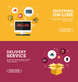 Shopping On-line Delivery Service Set of Flat vector image