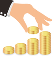 Business Hand Giving Coins To Stacks Of Coins vector image vector image