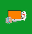 internet poker monitor cards and vector image