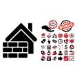 Realty Brick Wall Flat Icon with Bonus vector image