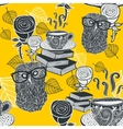 Seamless background with hot tea and clever owls vector image