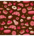seamless pattern with different types of pastries vector image