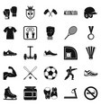 sportsman icons set simple style vector image