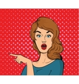 Surprised young woman pointing her finger vector image