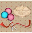 Vintage background with lollipops candy vector image