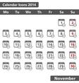Novenber 2014 Calendar Icons vector image vector image