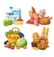 natural supermarket food sets vector image