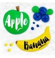 Plasticine fruits apple vector image vector image