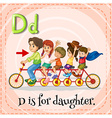 Flashcard letter D is for daughter vector image