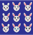 cute rabbit face expressions vector image
