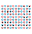 Great set 99 pink blue emotion isolated on white vector image