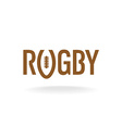 Rugby word with U like a ball shape logo template vector image
