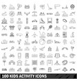 100 kids activity icons set outline style vector image
