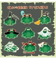 Halloween stickers green toads fashion costume vector image
