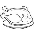 roast chicken outline vector image